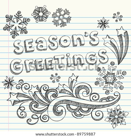 Hand-Drawn Season's Greetings Winter Snowflakes Sketchy Notebook Doodles- Vector Illustration Design Elements on Lined Sketchbook Paper Background - stock vector