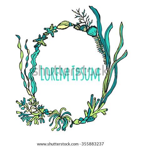 Hand Drawn Seaweed Frame Vector Illustration Stock Vector (Royalty ...