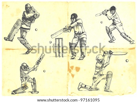 hand-drawn series - a collection of CRICKETERS
