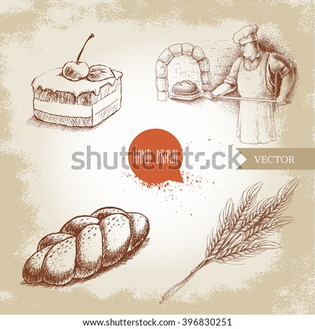 Hand drawn set bakery illustrations. Baker making fresh bread in stone oven, cream chocolate cake with cherry, fresh sesame bun and wheat bunch. - stock vector