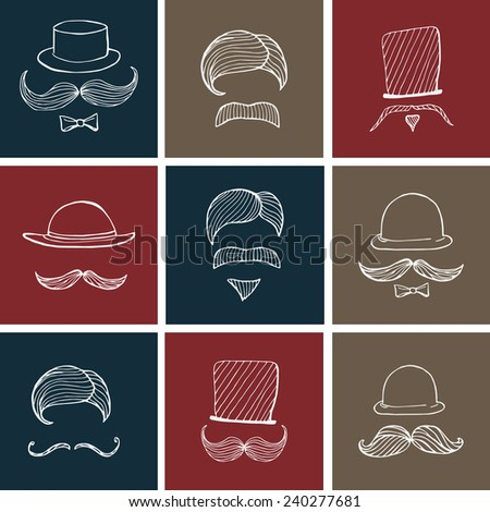 Hand drawn set gentlemen's elements. Mustache and hat, hipster style, concept vector illustration. - stock vector
