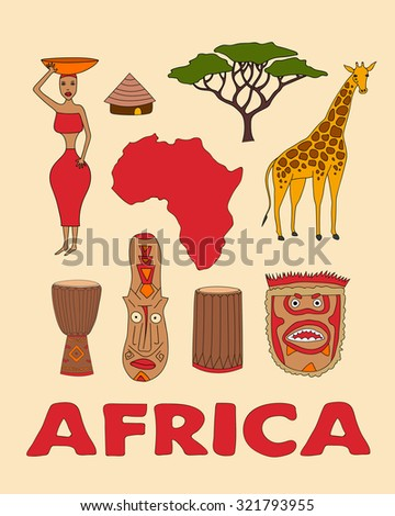 Hand drawn set of african symbols - bungalows, girl with a bowl, giraffe, ritual mask, map, acacia, music instruments. Travel to africa icons for cards and web pages.djembe, dunumba - stock vector