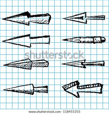 Hand-drawn set of arrows - stock vector