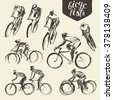 Hand drawn set of bicyclist rider men with bikes isolated on background, vector illustration, sketch - stock vector