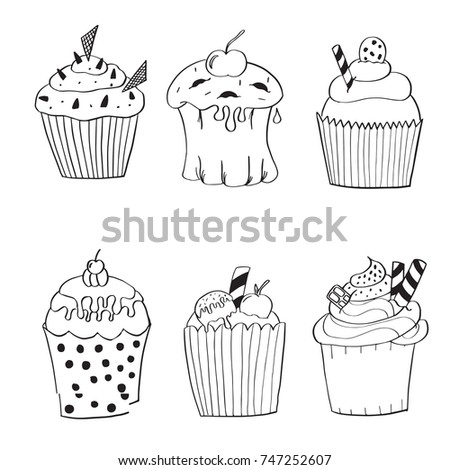 Hand Drawn Set Of 6 Birthday Cakes Isolated On White Background Cute Sweet Vector Bakery