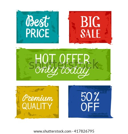 Hand Drawn Set of bright Discount Design Elements. Sale banners design. Big sale. Best price. Hot offer only today. Premium quality. Vector colorful illustration. - stock vector