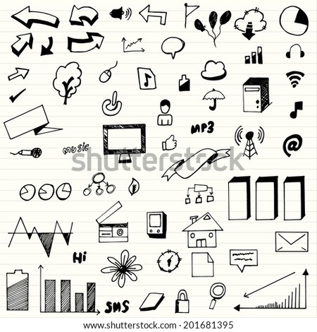 Hand drawn , set of business, social, technology - stock vector