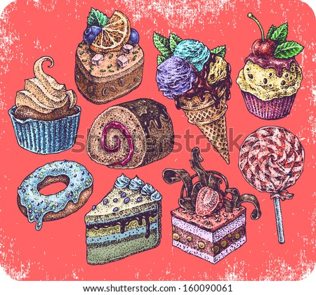 Hand drawn set of cakes - stock vector