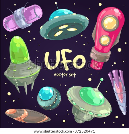 Hand-drawn set of cartoon funny flying saucers, spaceships and UFOs. Space and astronomy fantastic vector illustration. Unidentified flying objects. - stock vector