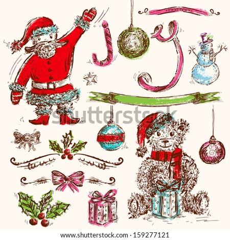 Hand Drawn Set of Christmas Icons - stock vector