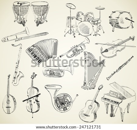 hand drawn set of classical musical instruments - stock vector
