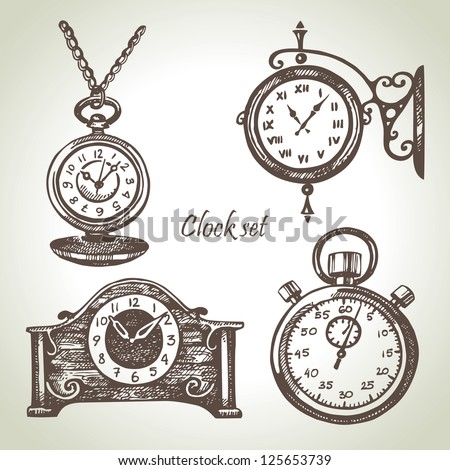 Hand drawn set of clocks and watches - stock vector