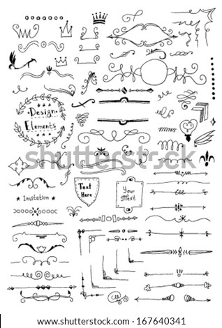 Hand drawn set of design elements - stock vector