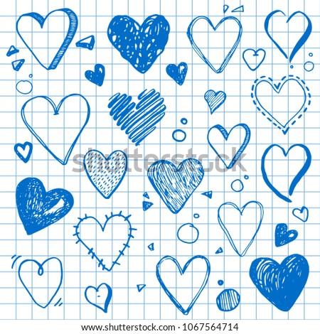 Hand Drawn Set Different Love Symbols Stock Vector 1067564714
