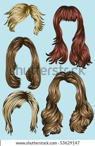 Hand drawn set of different women's hair styles - stock vector