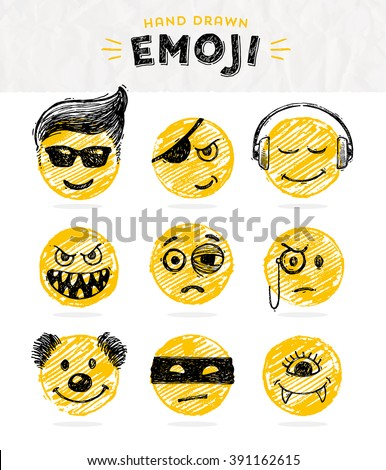 Hand drawn set of Emoticons. Vector set of Emoji. Smile icons. Vector illustration. - stock vector