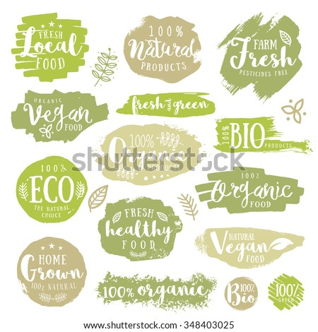 Hand drawn set of Green, eco, organic, vegan, natural, farm, fresh, food, healthy, 100%, bio, labels. Vector restaurant or product package design.
