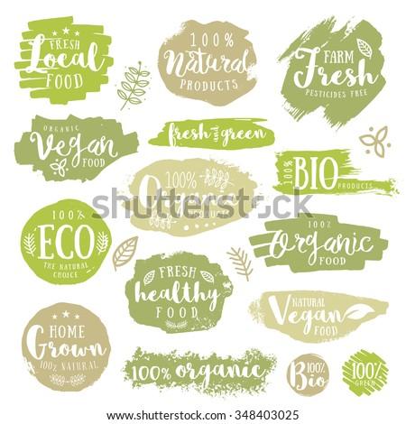 Hand drawn set of Green, eco, organic, vegan, natural, farm, fresh, food, healthy, 100%, bio, labels. Vector restaurant or product package design.  - stock vector