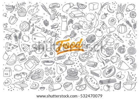Hand drawn set of healthy food ingredient doodles with lettering in vector