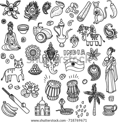 Hand Drawn Set Indian Style Doodles Stock Vector 718769671