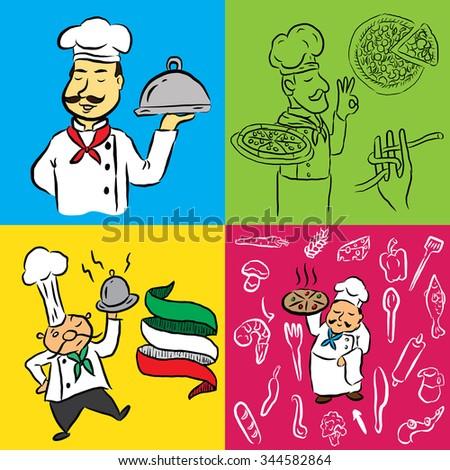 Hand Drawn Set Italian Food Related Stock Vector 344582864