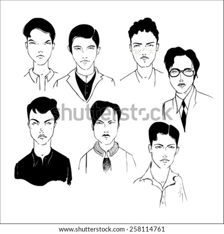 hand drawn set of male portraits - stock vector