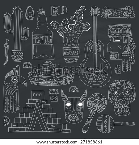 Hand drawn set of mexican symbols - guitar, sombrero, tequila, taco, skull, aztec mask, music instruments. Isolated national elements made in vector. Travel to Mexico icons for cards and web pages.  - stock vector