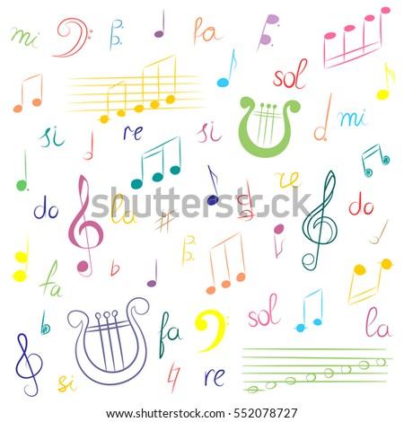 Hand Drawn Set Music Symbols Colorful Stock Vector 2018 552078727