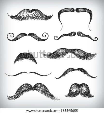 Hand-drawn set of mustache. Vector Illustration in a sketch style. - stock vector