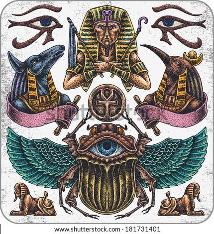 Hand-drawn set of old school egypt theme tattoos. - stock vector