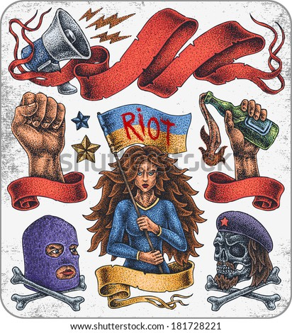 Hand-drawn set of old school revolution theme tattoos. - stock vector