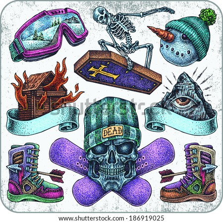Hand-drawn set of old school snowboarding theme tattoos. - stock vector