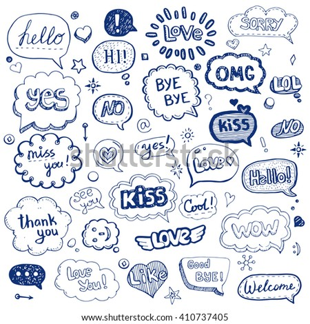 Hand drawn set of speech bubbles with dialog words: Hello, Love, Bye, Hi. Vector illustration. - stock vector