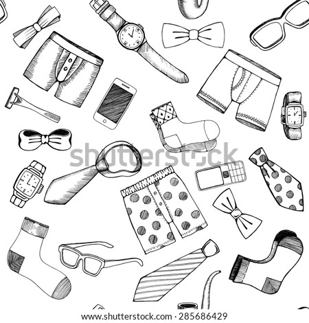 Hand drawn set of various Fathers day icons - stock vector