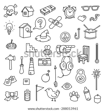 Hand drawn set of various icons, vector illustration