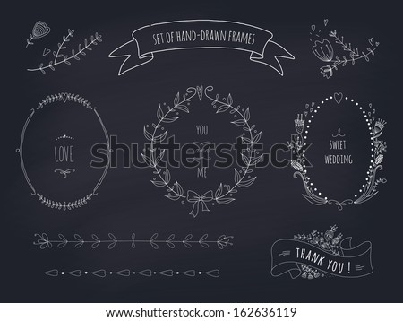 Hand drawn set of wedding wreaths and ribbons. EPS 10. Transparency. No gradients. - stock vector