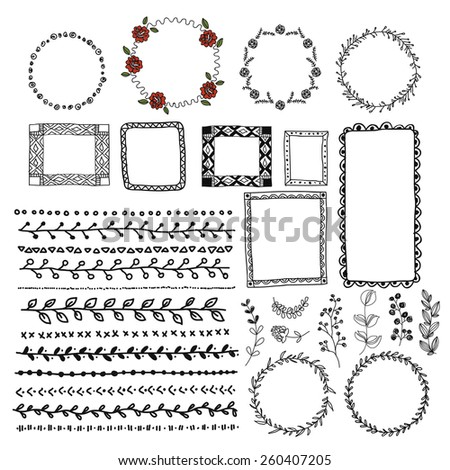 Hand drawn set of wreaths, line border and decoration elements. vector illustration - stock vector