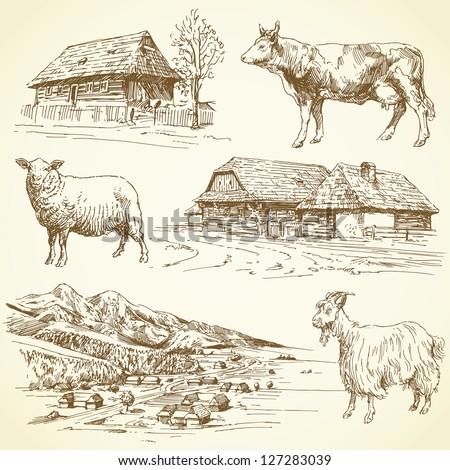 hand drawn set - rural landscape, village, farm animals - stock vector