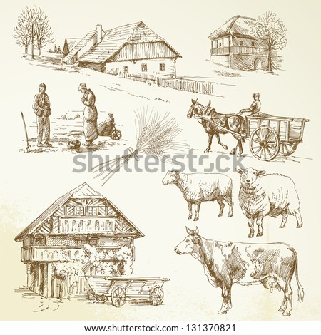Hand drawn set - rural landscape, village, farm animals - stock vector