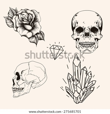 Hand drawn set sketch skull tattoo line art. Vintage vector illustration. Head bones, rose, profile scull, diamond and crystal isolated on background. - stock vector