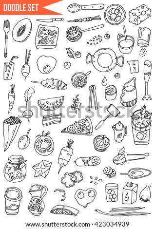 Hand drawn set - Time to cook, food, vegetables, fruits and cooking utensils - stock vector