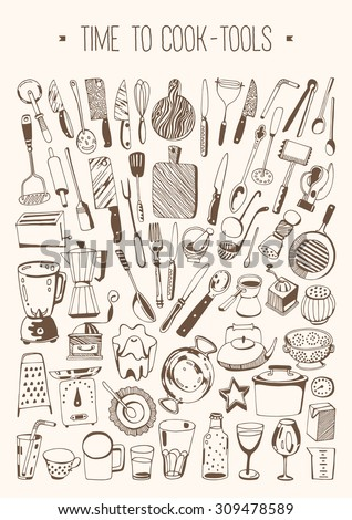 Hand drawn set - Time to cook - Tools - stock vector
