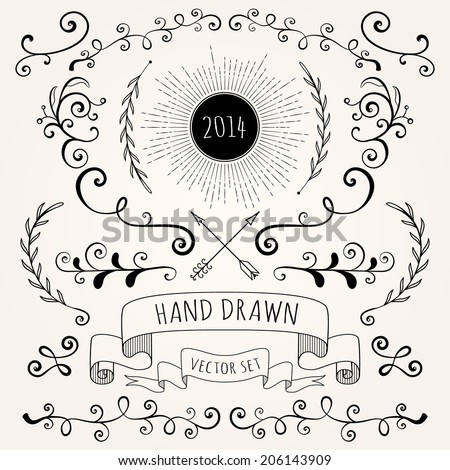 Hand drawn set vintage style vector design elements  - stock vector