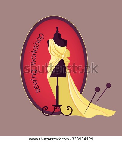 Hand drawn sewing lable with mannequin in a dress. Vector illustration. Logo.