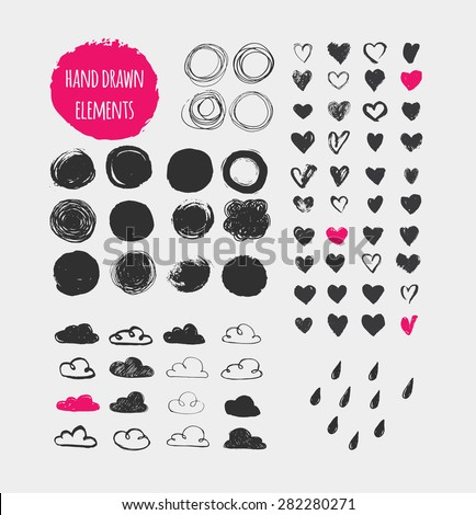 Hand drawn shapes, icons, elements and hearts - stock vector