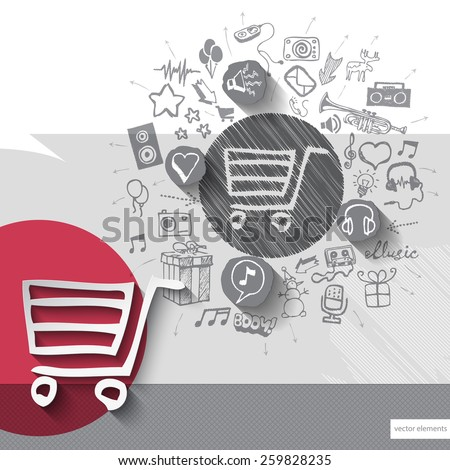Hand drawn shopping cart icons with icons background. Vector illustration - stock vector