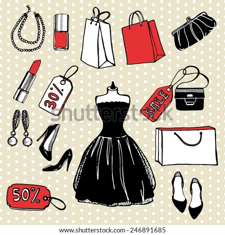 Hand drawn shopping set.  Little black dress, clutch, bag, shoes, lipstick. nail polish, earrings, pearl necklace, discount tag, sale tag, shopping bag. Polka dot background - stock vector