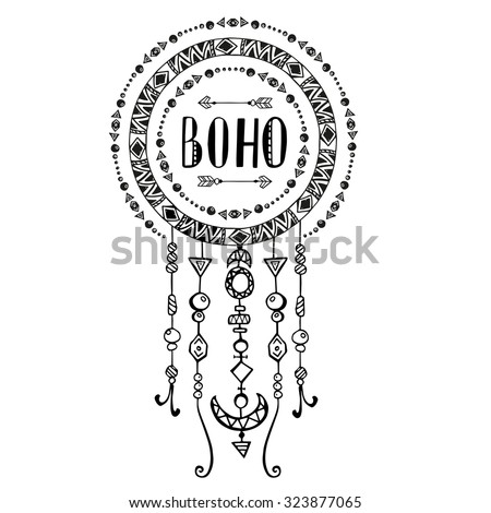Hand drawn sign in boho style with arrows and beads. Vector illustration isolated on white.  - stock vector