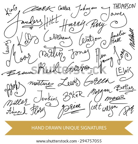 Hand drawn signature collection. Set of unique vector elements. - stock vector