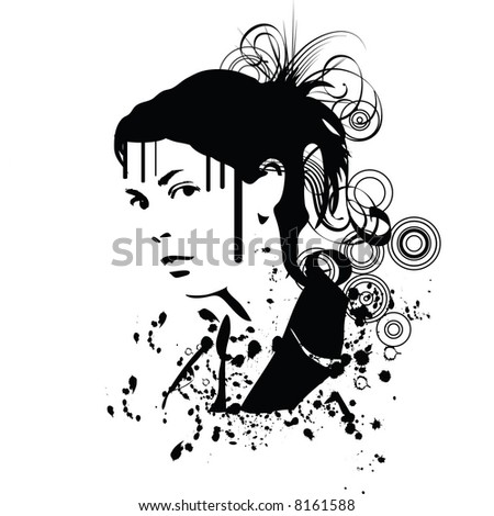 hand drawn silhouette of a woman - stock vector